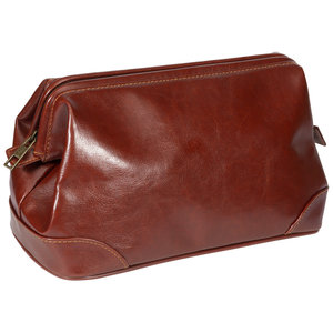 Kingsley Men's Classic Brown Leather Toiletry Bag