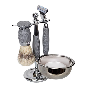 Kingsley 5 Piece Shave Set - Grey Woodgrain