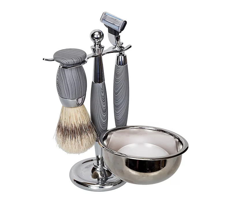 5 Piece Shave Set - Grey Woodgrain