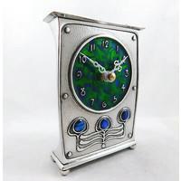 Pewter and Enamel Art Nouveau Clock