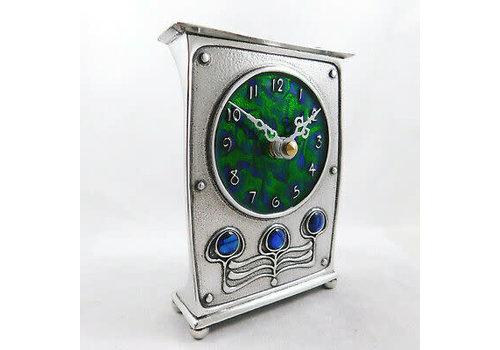 A E Williams Pewter and Enamel Art Nouveau Clock