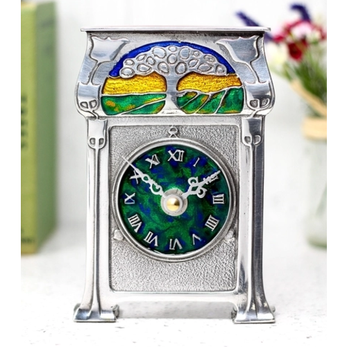 A E Williams Pewter and Enamel Tree Clock