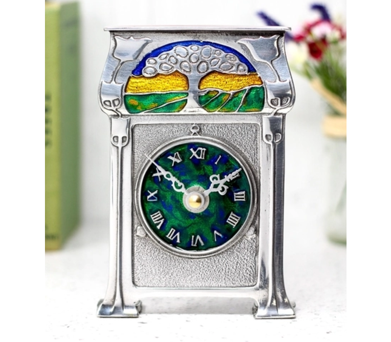 A. E. WIlliams Pewter and Enamel Tree Clock