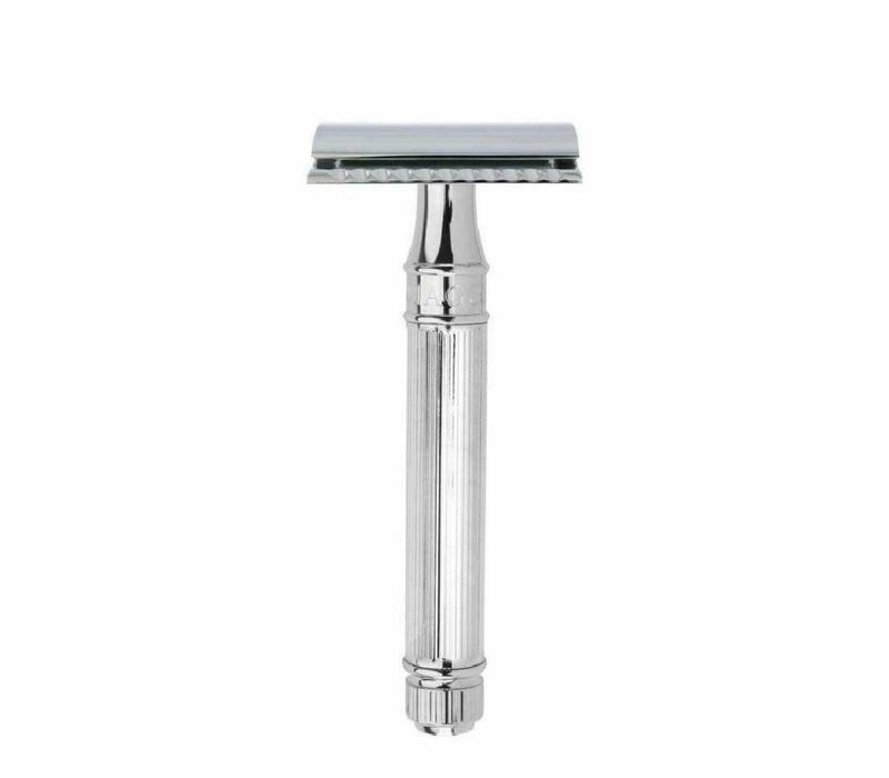 Edwin Jagger Double Edge Safety Razor Extra Long Handle Lined Chrome Plated