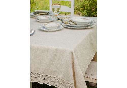 April Cornell Luxurious Linen Jacquard Tablecloth Ecru