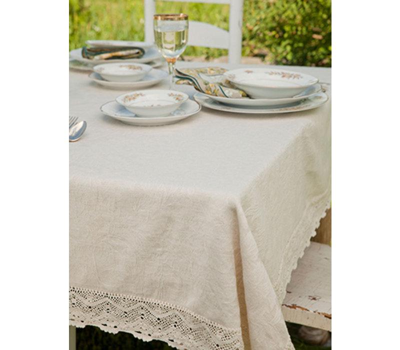 Luxurious Linen Jacquard Tablecloth Ecru - 60x108