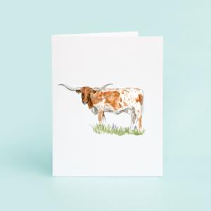 Taylor Paladino Longhorn Blank Greeting Card