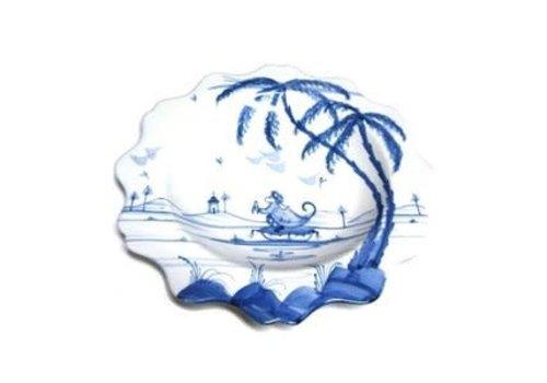 Isis Ceramics Isis Blue Playful Monkeys - Fife - Scalloped Tea Plate