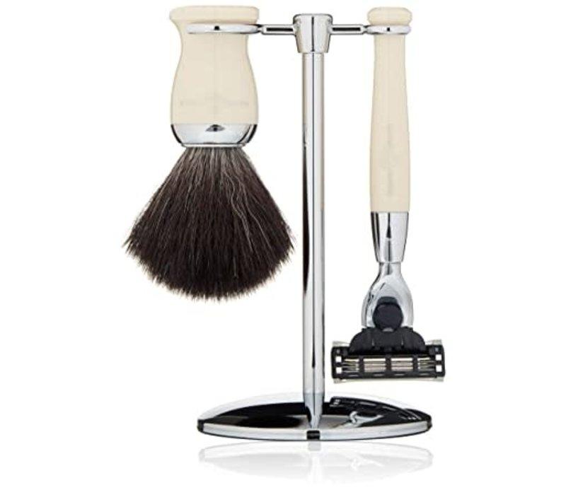 Imitation Ivory 3 Piece Set: Mach 3 Razor, Black Synthetic Fibre Shaving Brush With Stand