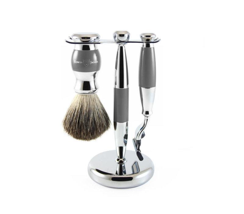 Edwin Jagger 3 Piece Grey Shaving Set Mach 3