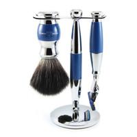 3 pc Blue & Chrome Shaving Set (Fusion)