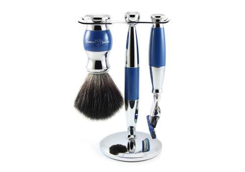 Edwin Jagger 3 pc Blue & Chrome Shaving Set (Fusion)