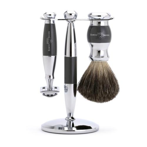Edwin Jagger 3 pc Grey & Chrome Shaving Set (Safety)