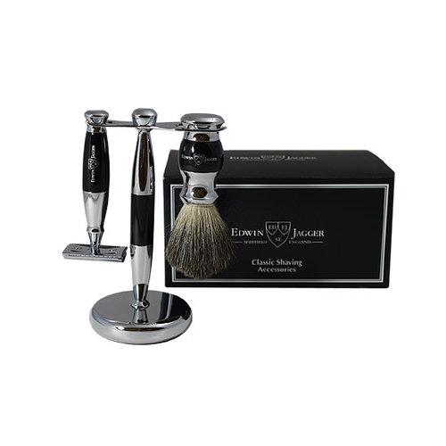 Edwin Jagger 3pc Black & Chrome Shaving Set (Safety)