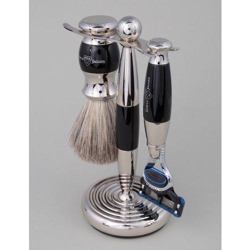Edwin Jagger 3pc Black & Chrome Shaving Set (Fusion)