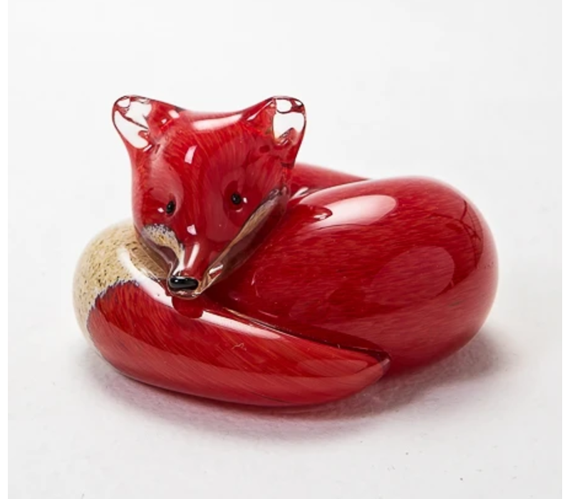 Small Red Fox at Rest Glass Figurine