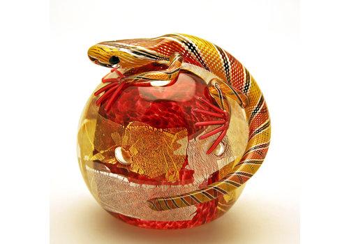 Twists Glass Studio Twists Glass Studio Lizard Paperweight - Red