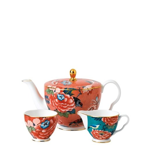 Wedgwood Paeonia Blush Teapot, Cream & Sugar Set