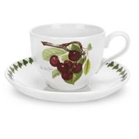 Portmeirion Pomona Teacup w Saucer - Late Duke Cherry