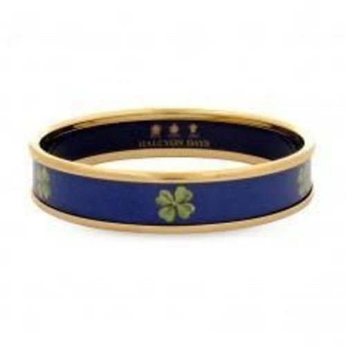 Halcyon Days 1cm Clover Navy Gold Small Bangle