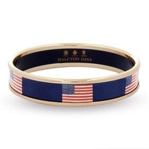 Halcyon Days 1cm USA flag Navy Gold Small Bangle