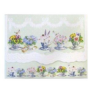 Pansy Teacups Portfolio of 10 Notecards