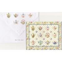Tea Pots Quilt Portfolio of 10 Notecards