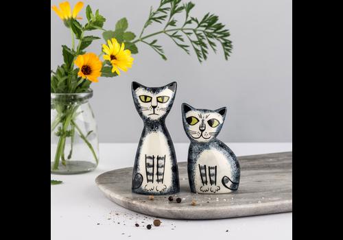 Hannah Turner Salt and Pepper Shakers Grey Tabby Cat