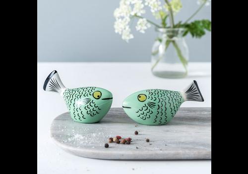 Hannah Turner Salt and Pepper Shakers Fish Green