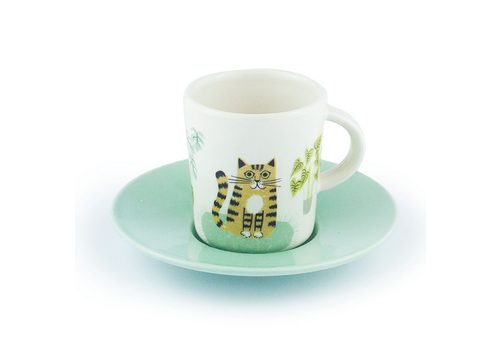 Hannah Turner Cat Espresso Cup and Saucer