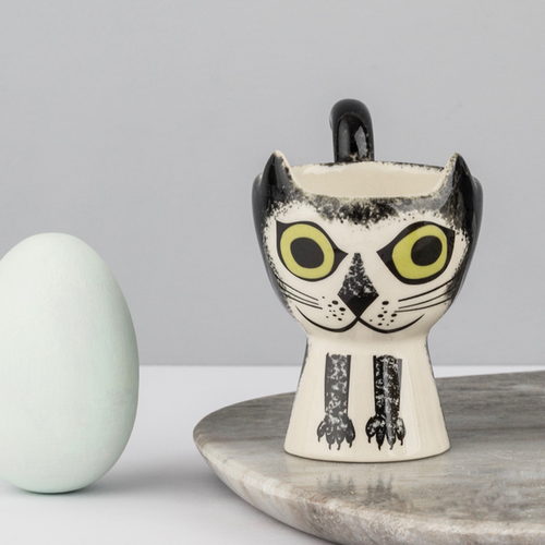 Hannah Turner Egg Cup Cat Black and White