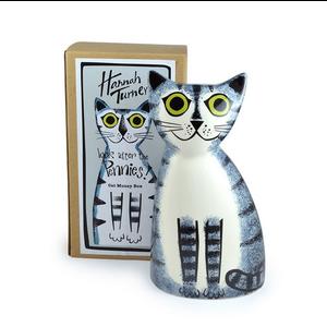 Hannah Turner Money Box Cat Grey