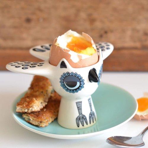 Hannah Turner Egg Cup Owl Blue