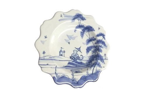 Isis Ceramics Isis Blue Playful Monkeys - Clement - Scalloped Tea Plate