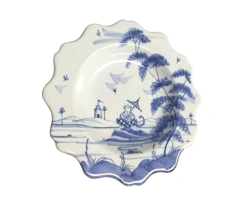 Isis Blue Playful Monkeys - Clement - Scalloped Tea Plate