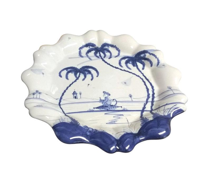 Isis Blue Playful Monkeys - Fife - Fluted Dish