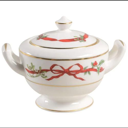 Royal Worcester Holly Ribbons Covered Sugar Bowl