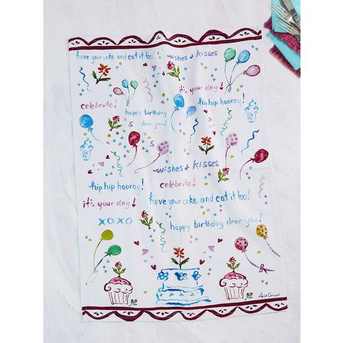 April Cornell Happy Birthday Tea Towel