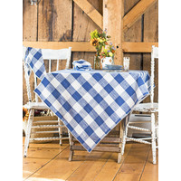 Blue Cottage Check Square Tablecloth