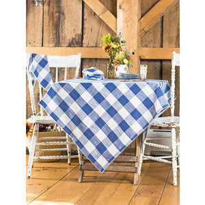 April Cornell Blue Cottage Check Square Tablecloth