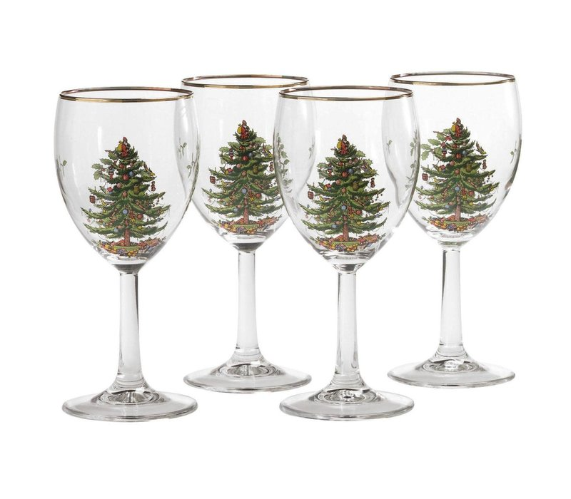 Christmas Tree Spode Set of Four Wine Glasses