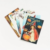 Halloween 12 Glitter Vintage Postcards