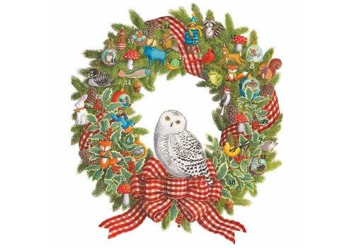 Caspari Caspari Snowy Owl Wreath Advent Calender