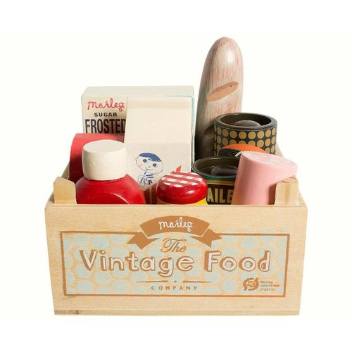 Maileg Maileg Vintage Food in Wooden Grocery Box
