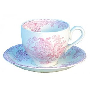 Burleigh Pottery Asiatic Pheasants Pink Teacup and Saucer