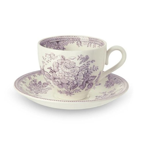 Burleigh Pottery Asiatic Pheasants Plum Teacup and Saucer