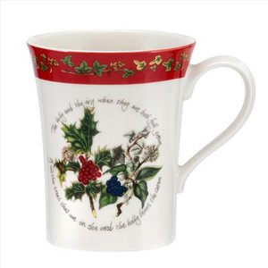 Portmeirion Holly & Ivy Mandarin Mug w/ Red Border