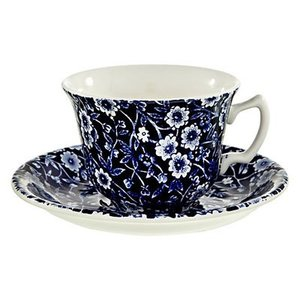 Burleigh Pottery Calico Blue Teacup & Saucer