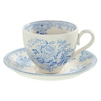 Asiatic Pheasants Blue Teacup and Saucer