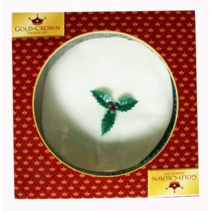 Gold Crown Top Iced Boxed Christmas Cake 681g